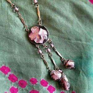 Vintage Art Deco art glass necklace silver purple